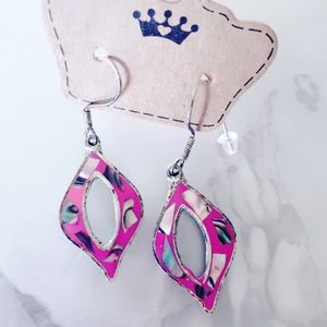 Pink and Shell Silver Tone Earrings
